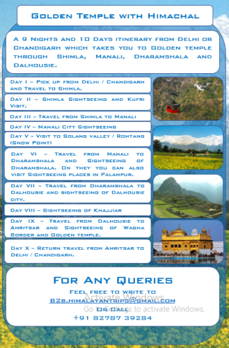 Golden Temple with Himachal tour package